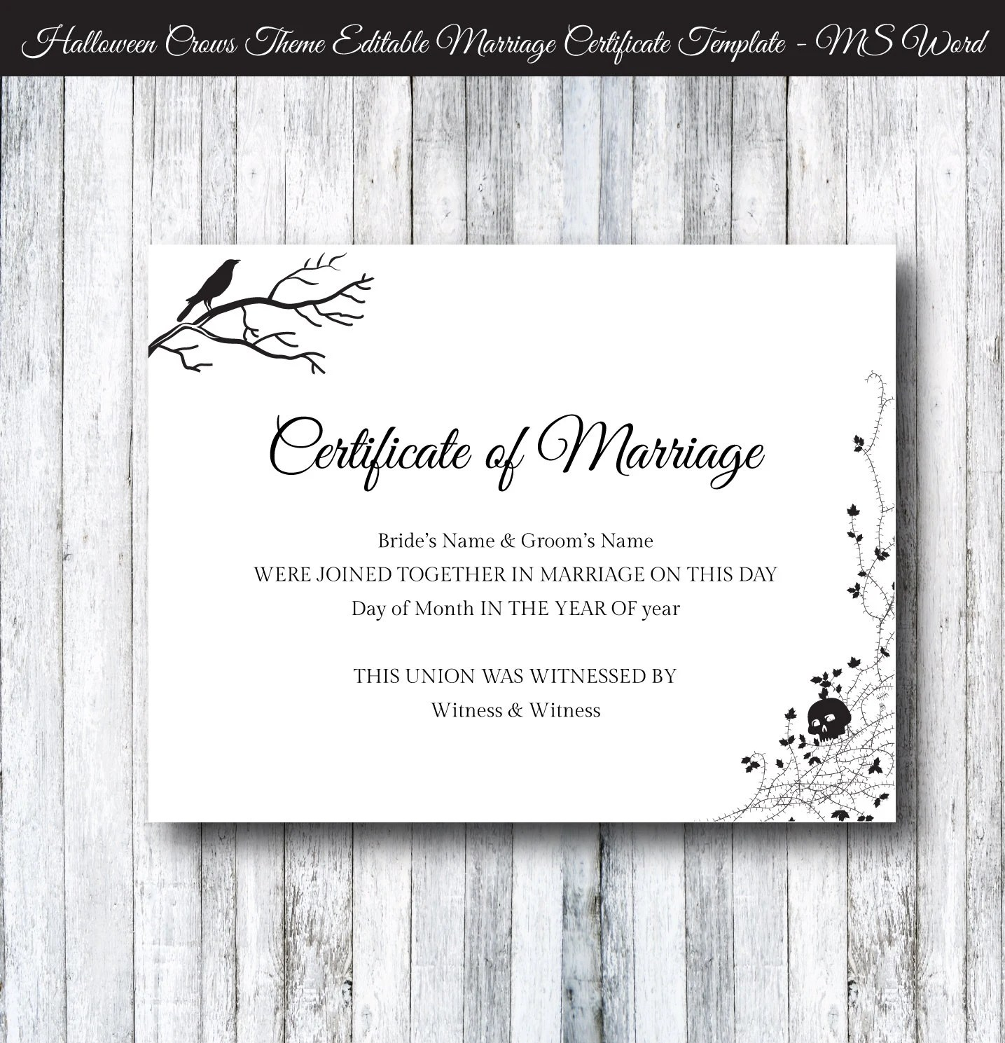 Halloween Wedding Marriage Certificate Template DIY Printable Etsy