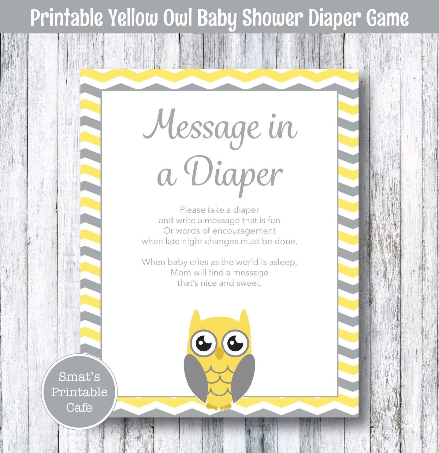 Yellow Owl Baby Shower Diaper Message Game PRINTABLE Chevron Etsy