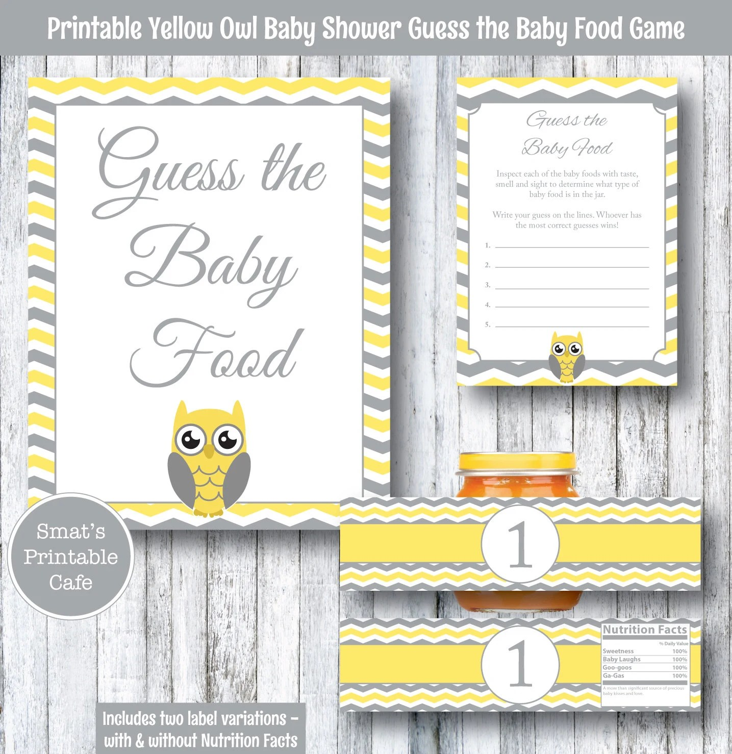 Yellow Owl Baby Shower Guess the Baby Food Game PRINTABLE
