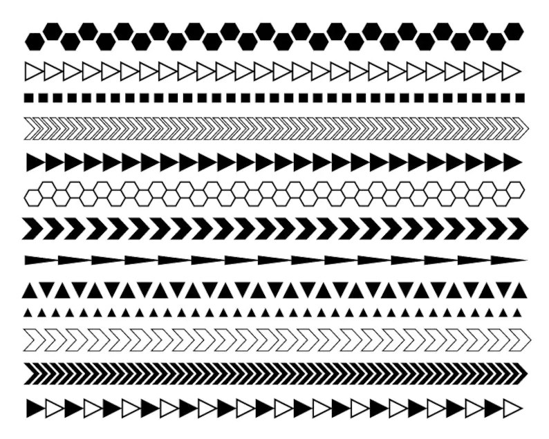 Geometric Digital Borders   Black and White Borders   Modern Etsy