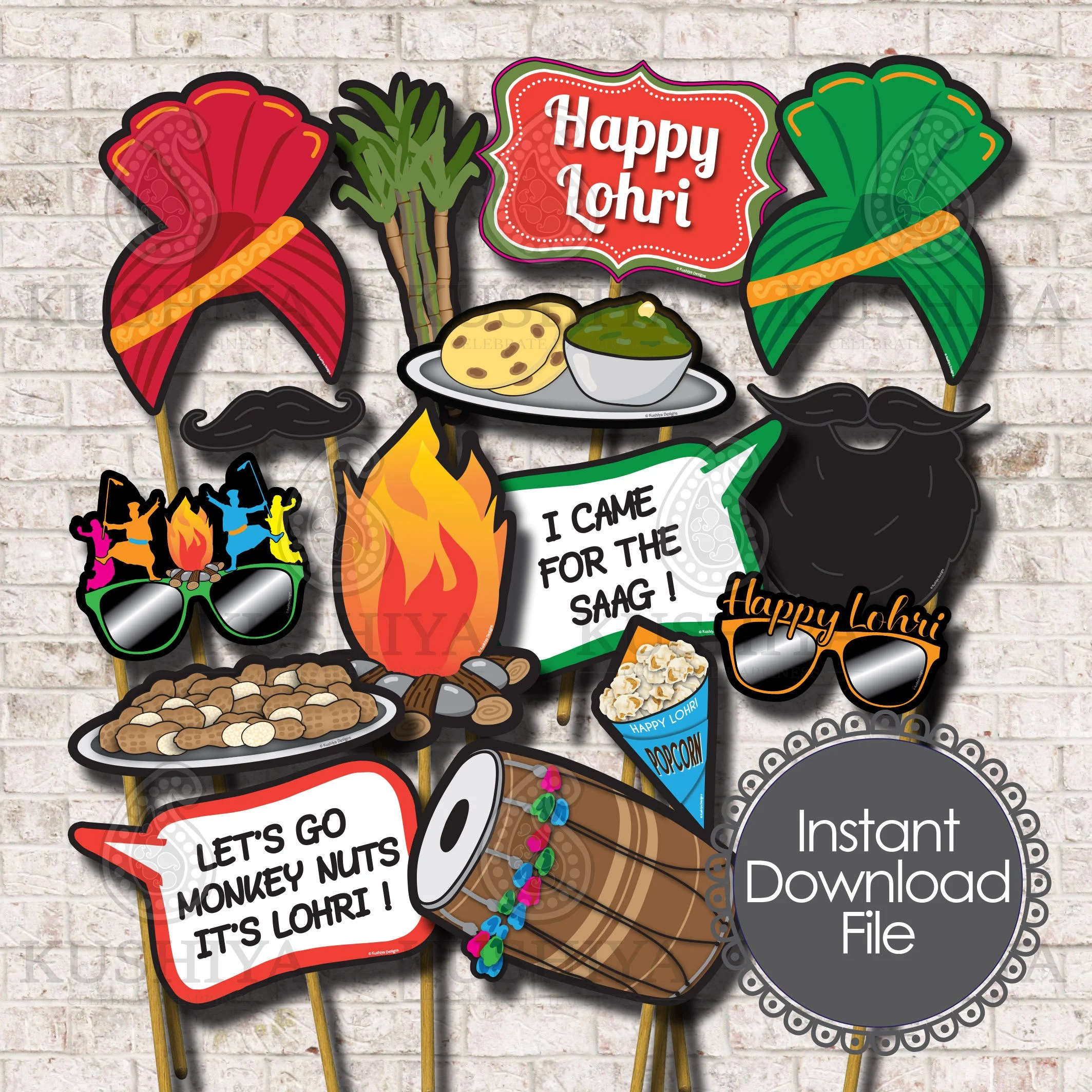 Photobooth Maison Lohri Party Photo Booth Props Set Of 15 Lohri Celebrations Punjabi Indian Party Instant Download Printable Print Your Own Diy