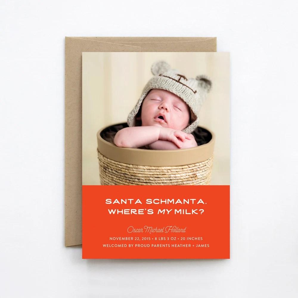 Funny Christmas Birth Announcement Card Santa Schmanta Etsy