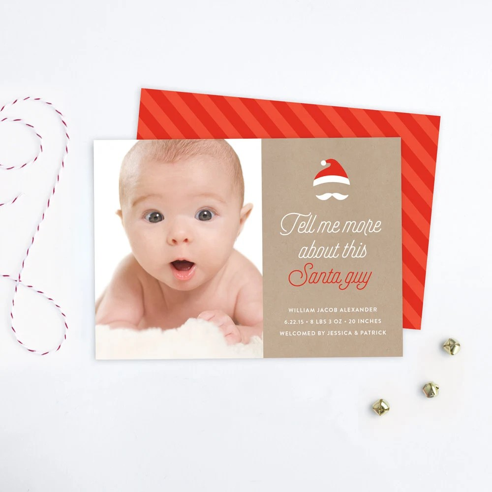 Funny Christmas Birth Announcement Card Tell Me More About Etsy
