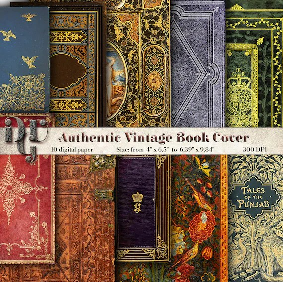 Decorative Book Cover Journal Pages printable Vintage book Etsy