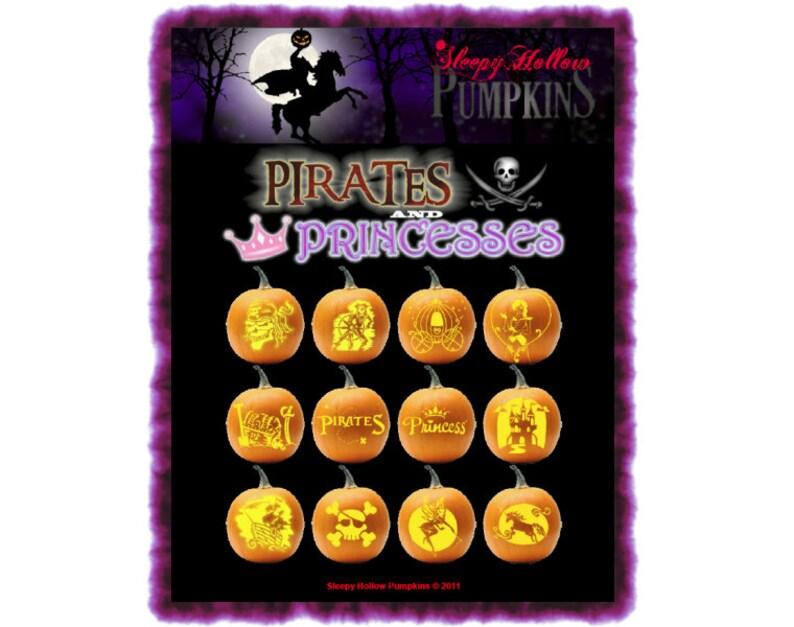 Pirates and Princesses Pumpkin Carving Patterns Printable Etsy