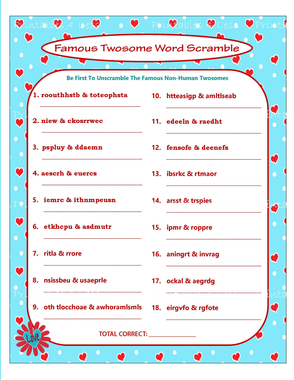 Valentine Word Scramble Printable Valentine Game DIY Etsy