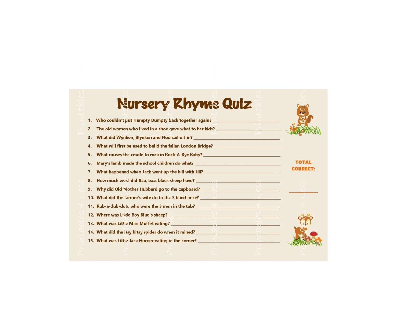 Woodland Nursery Rhyme Game Baby Shower Nursery Rhymes Game Etsy