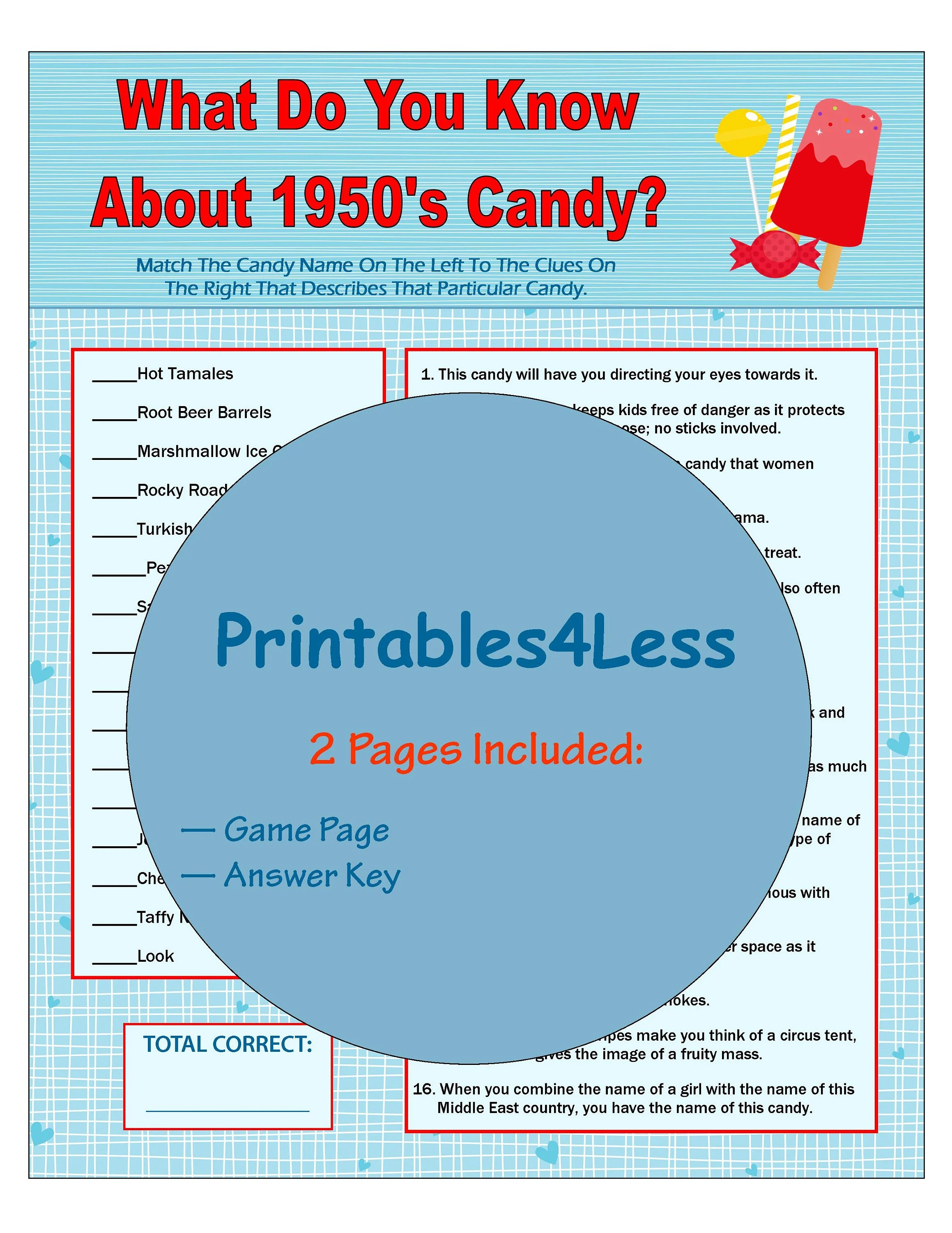 1950s Candy Game Candy Trivia Game Printable Trivia Game Etsy