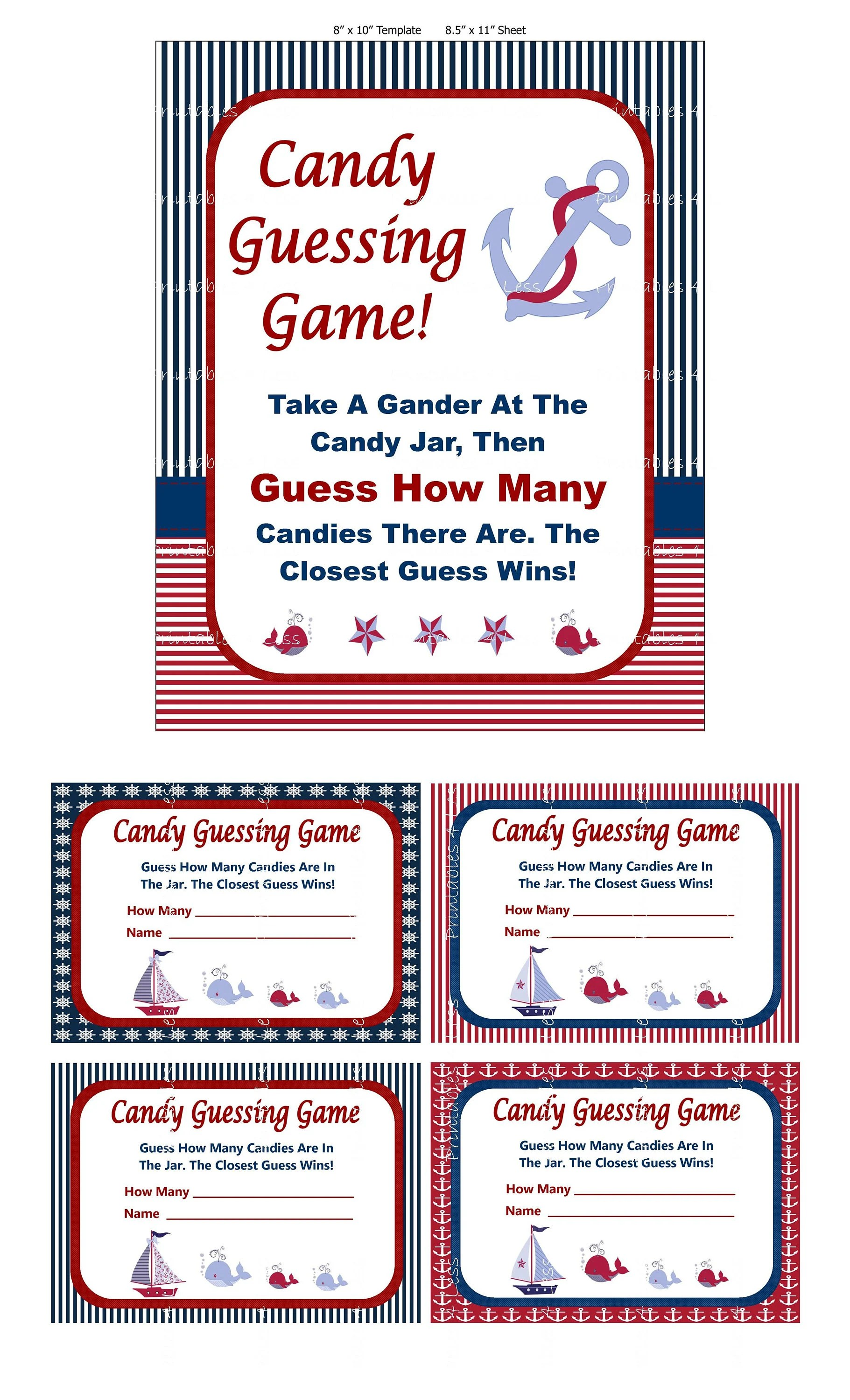 Nautical Candy Guessing Game Printable Baby Shower Candy Etsy