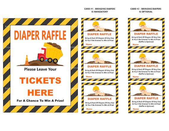 Construction Diaper Raffle Tickets Diaper Tickets Diaper Etsy