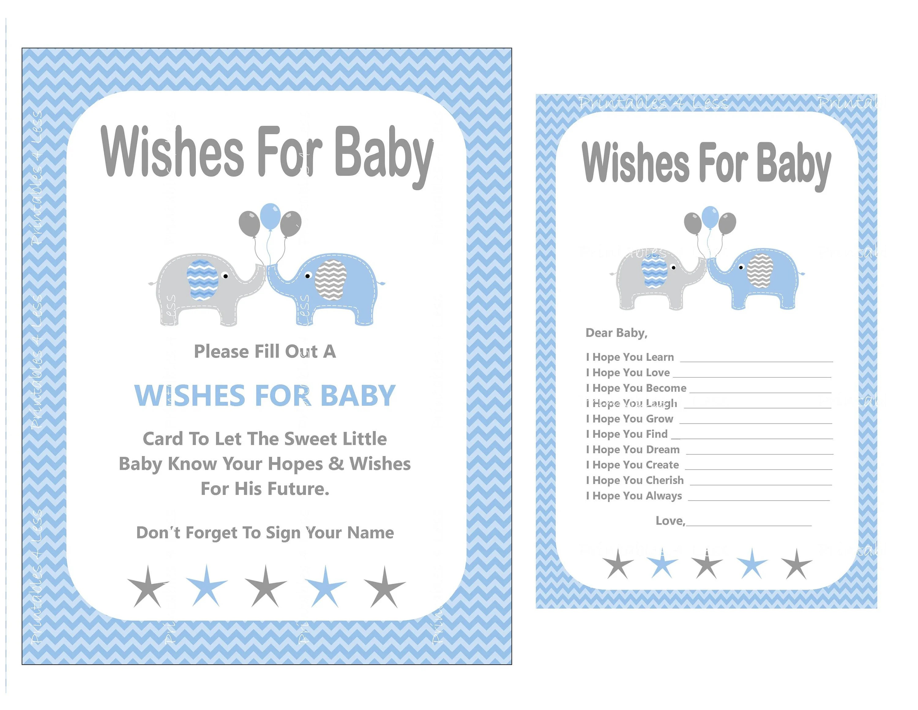 Blue Elephant Wishes For Baby New Baby Boy Wishes Printable Etsy