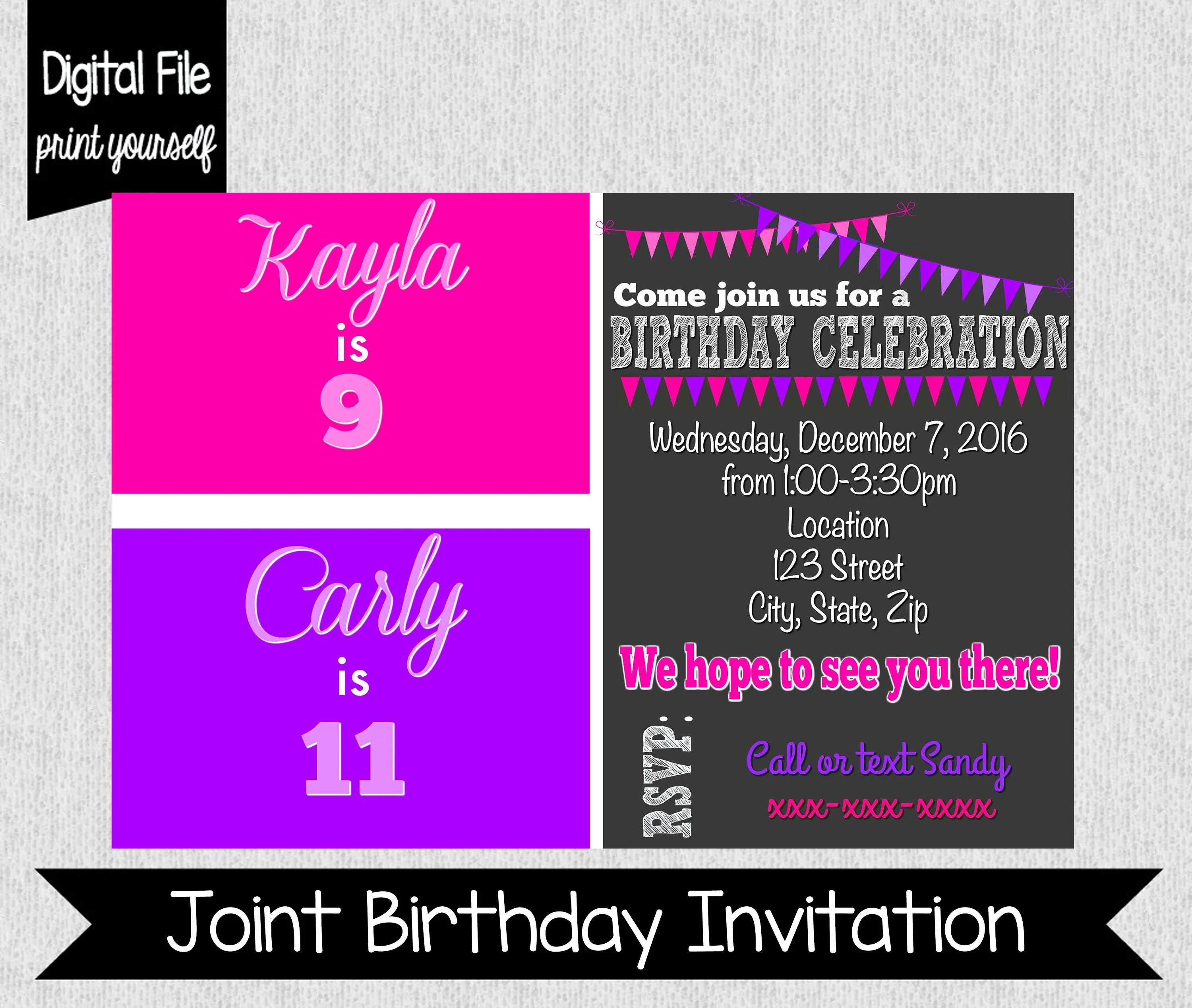 Pink  Purple Birthday Invitation Sister Birthday Invitation Etsy