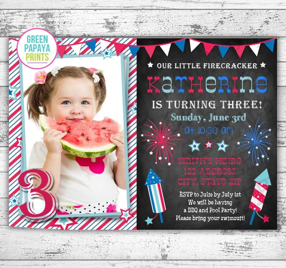 4th of July Birthday Invitation - Printable Digital File - Fourth of