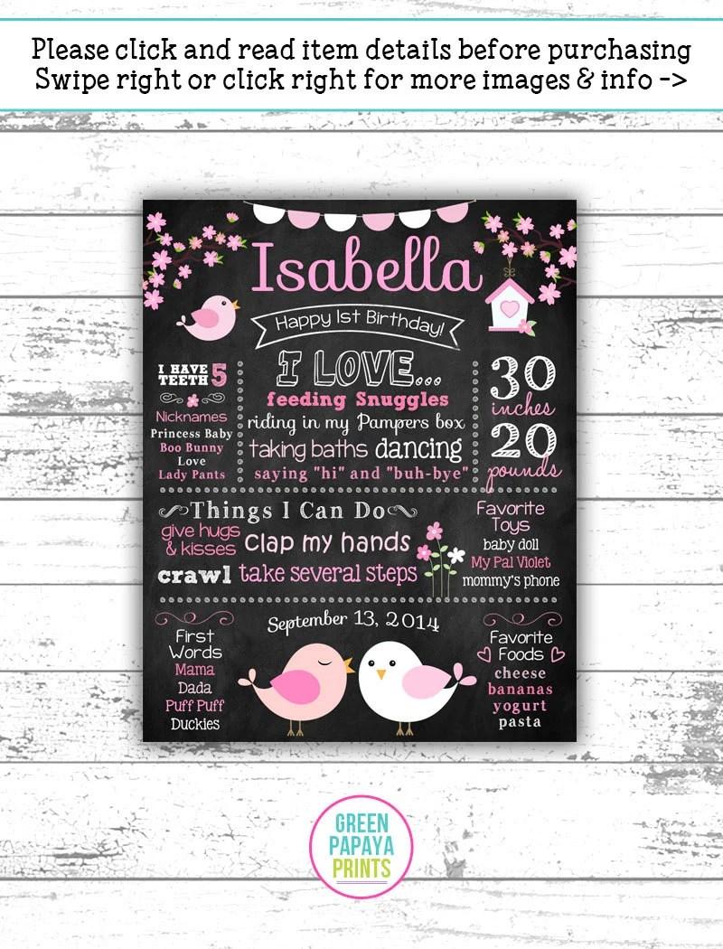 Little Bird First Birthday Chalkboard Sign - 1st Birthday Poster