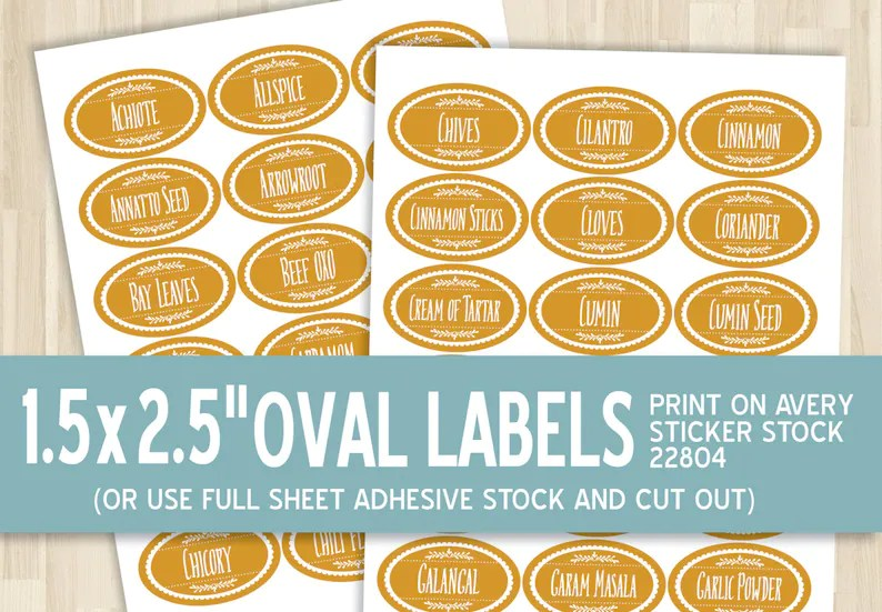 Printable Spice Labels   15x25 Oval Sticker   Etsy