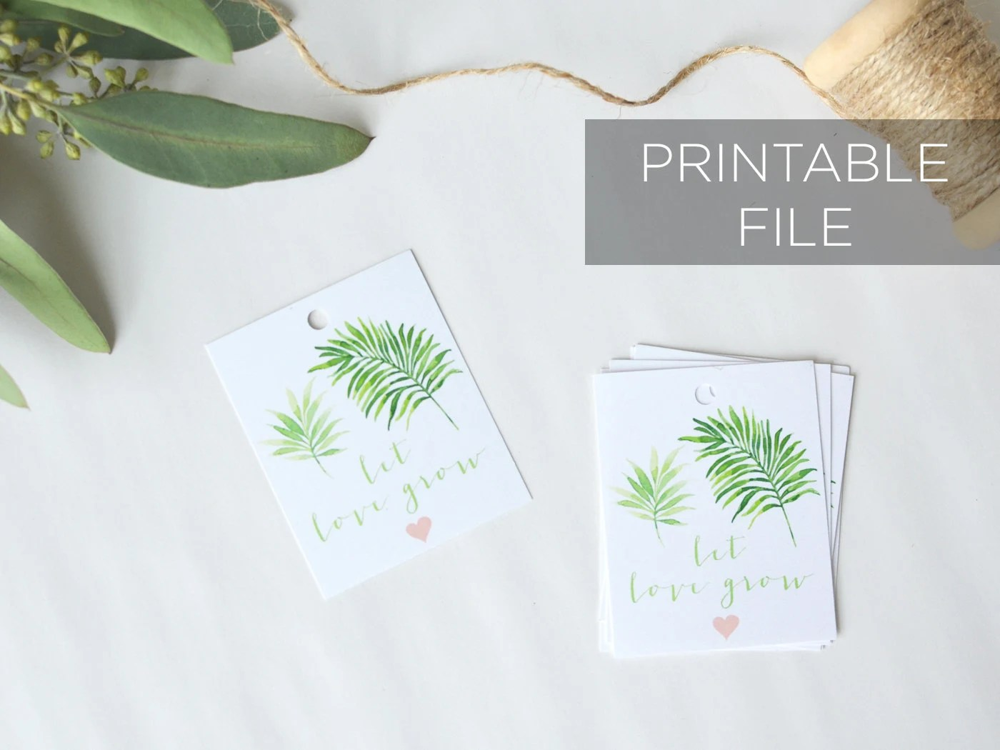 Let Love Grow printable tags Plant Succulent Favor Tags Etsy