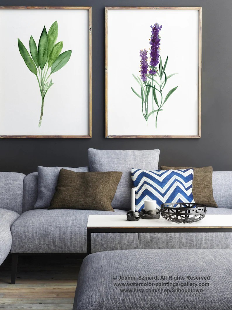 Lavendel In Der Küche Salbei Kunstdruck Lavendel Aquarell Malerei Küche Wand Illustration Kräuter Gewürze Home Decoration Green Living Room Decor Botanische Kunst