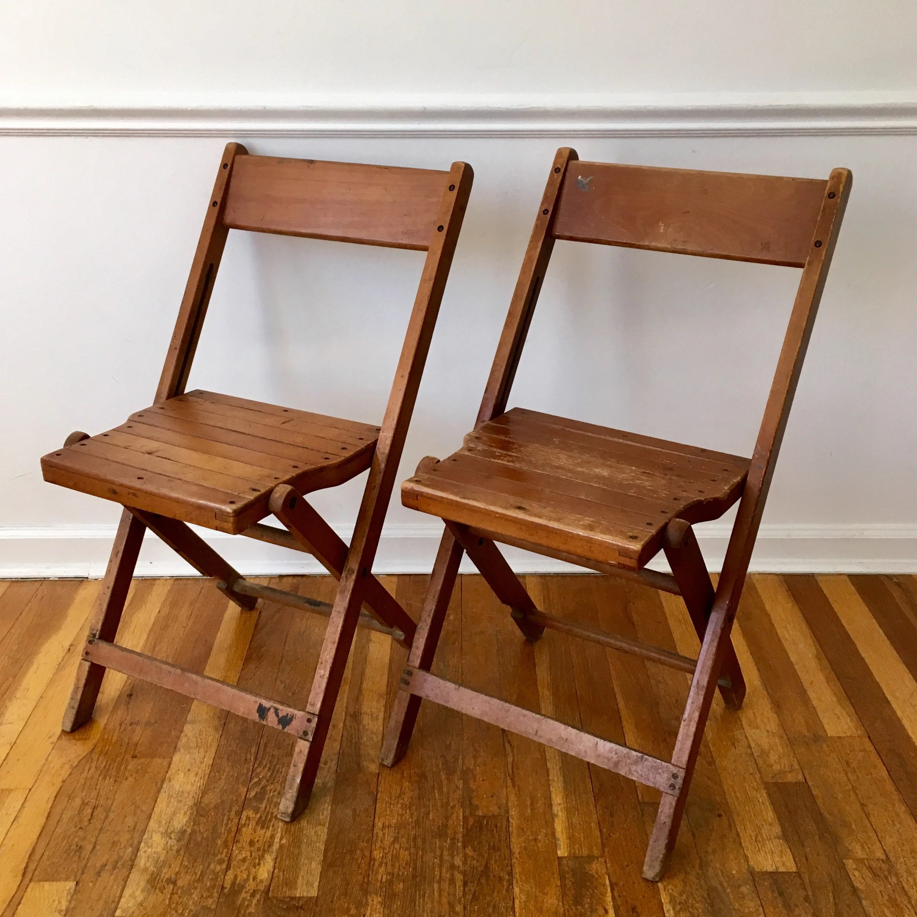 Folding Wooden Chairs Vintage Folding Wooden Chair Set