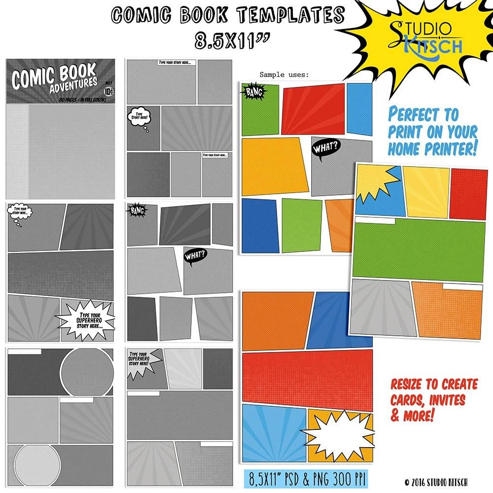 DIY Comic Book templates Comic Strip superhero cartoon Etsy