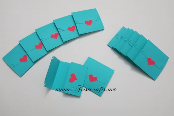 Mini note cards Teal blue/Pink-Mini notecards-Tri-fold Etsy
