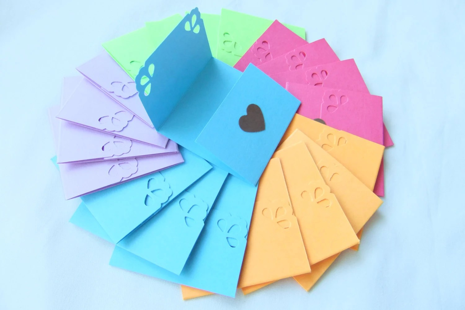 Mini note cards Mini notecards Assorted colors Tri-fold Etsy