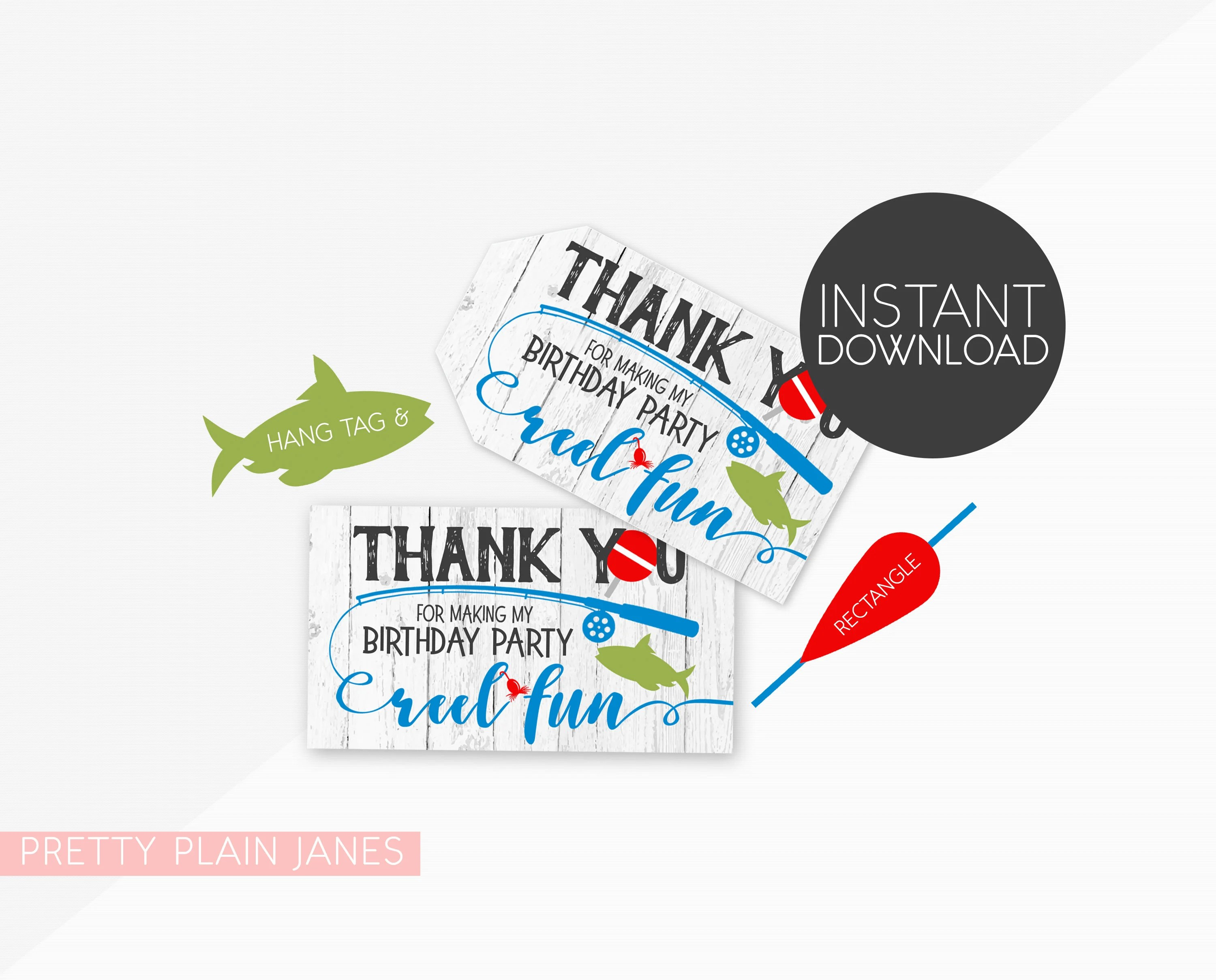 Fish Favor Tag Instant Download Fish Thank You Reel Fun Etsy