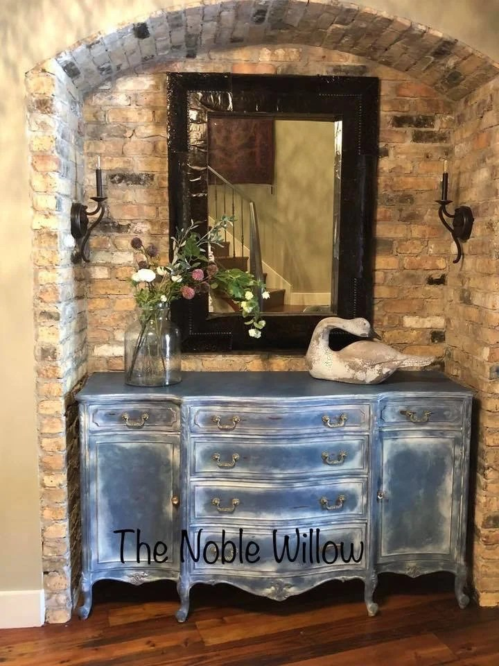 Buffet Sideboard Blue Antique Buffet Sideboard Custom Painted Vintage Blue White