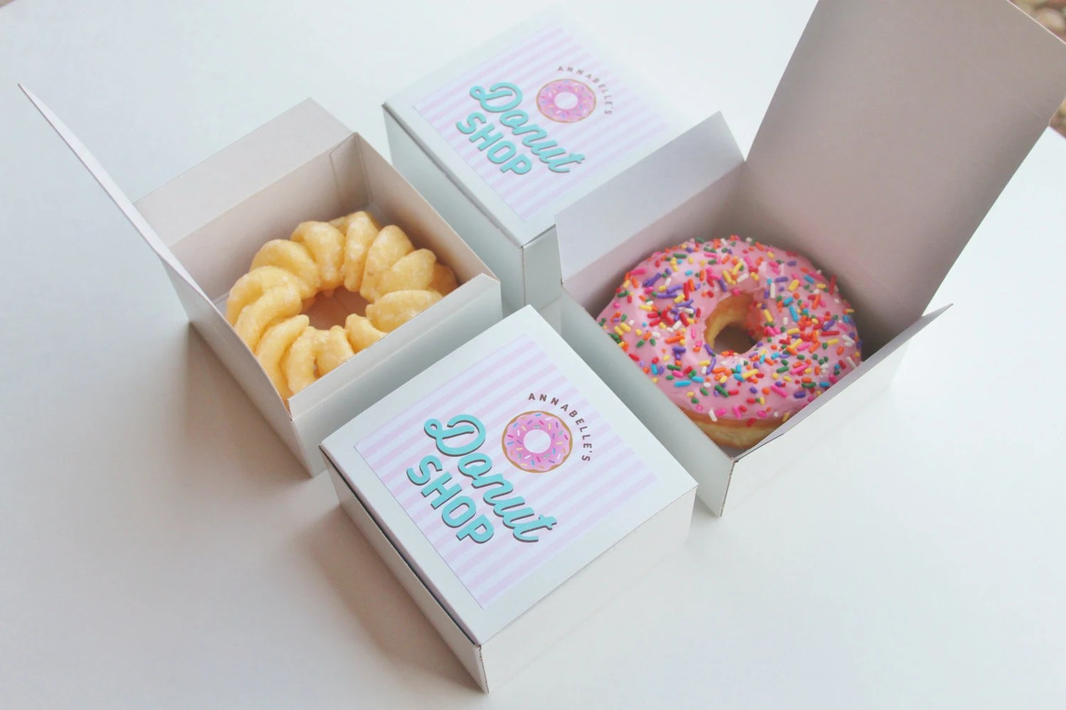 Donut Bettwäsche Dozen Donut Favor Boxes Single Donut Box Donut Shop Party Treat Box Sprinkle Donuts Stripes