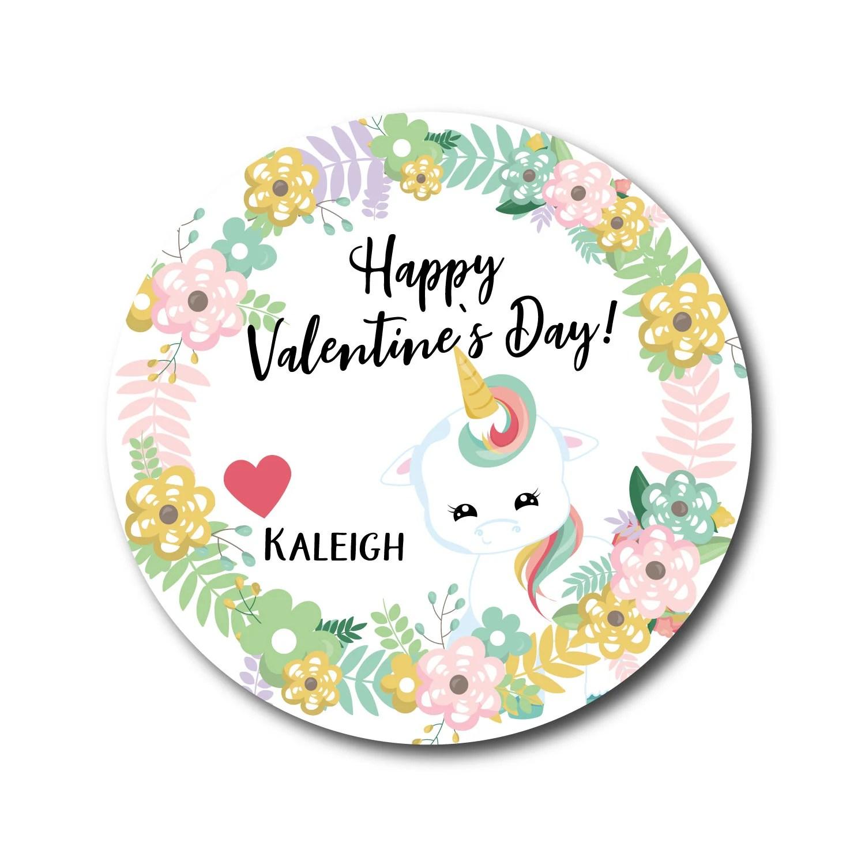 Valentine Stickers Kids Valentines Day Stickers Unicorn Etsy