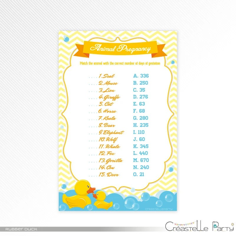 Blue rubber duck Animal Pregnancy Quiz, aqua and yellow printable