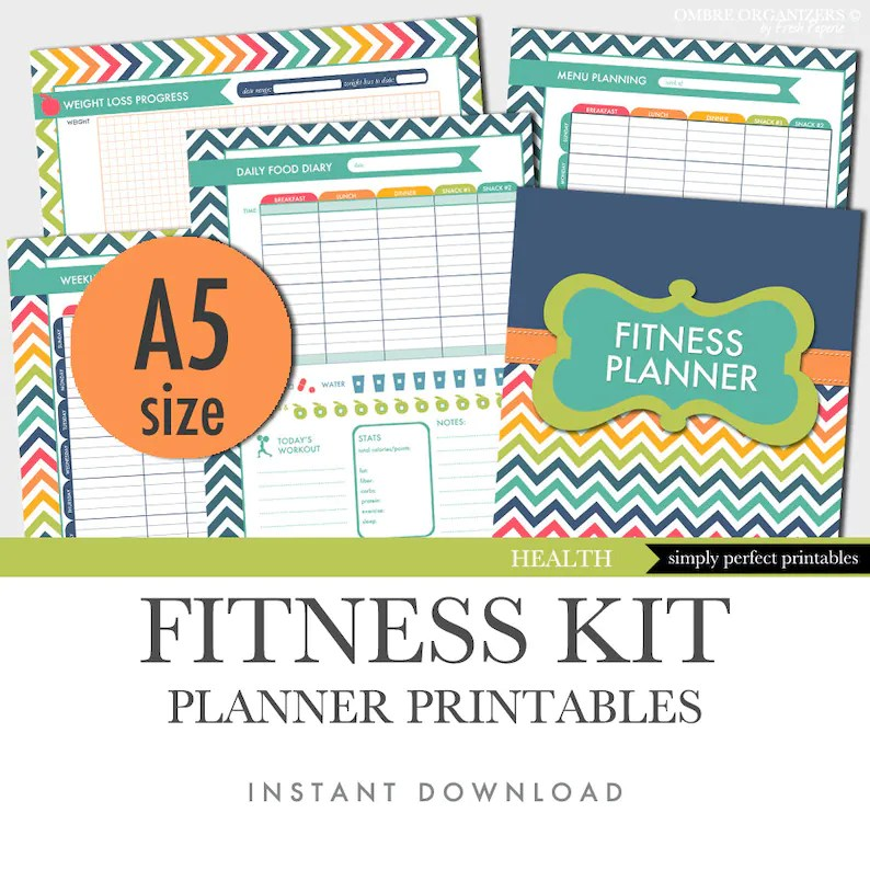 Fitness Planner Weight Loss Food Diary Menu Planner Etsy