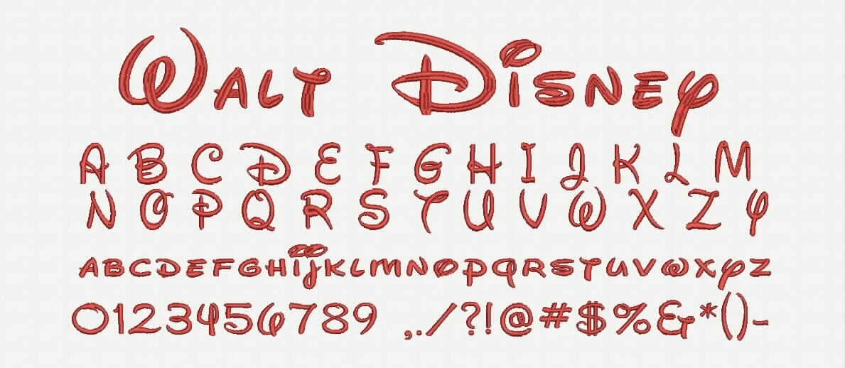 Walt Disney Font A-Z and 0 -9 Embroidery Design Now Come with BX