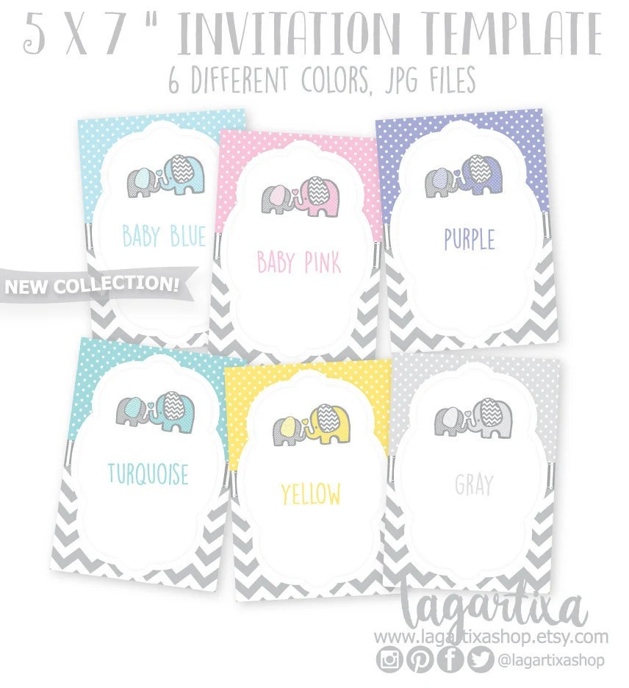 Formato Editable para Invitacion Baby Shower 5x7