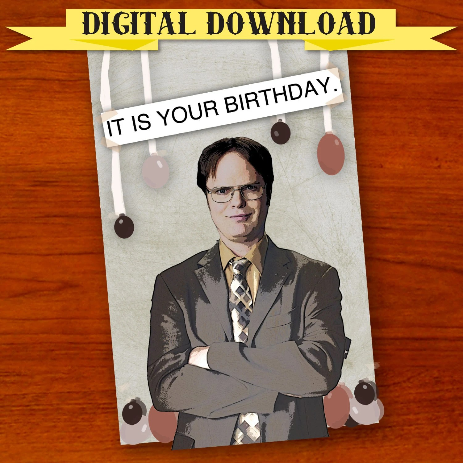 Dwight Schrute The Office Birthday Card Digital Download Etsy