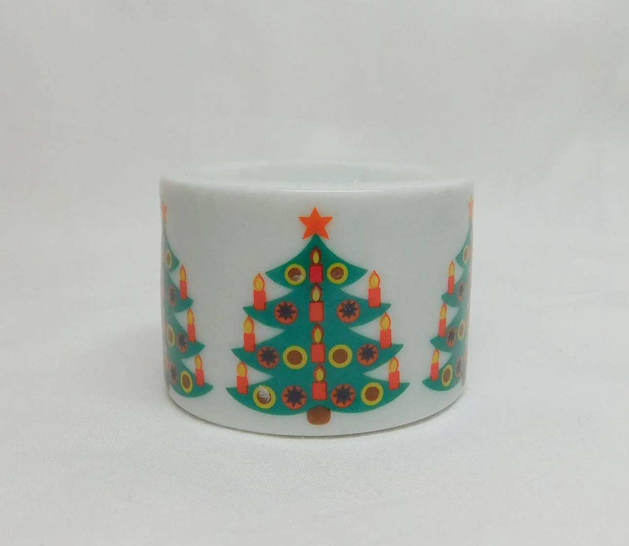 Mini Tannenbaum Vintage Funny Design W Germany Mini Round Ball Candle Holder Candleholder Christmas Tree Tannenbaum Holiday Green Tree Orange Star Candles