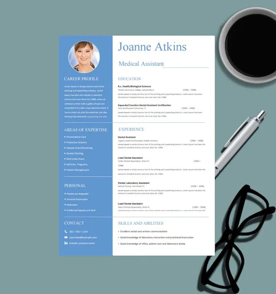 Medical Resume Template for MS Word Nurse Resume Design Etsy