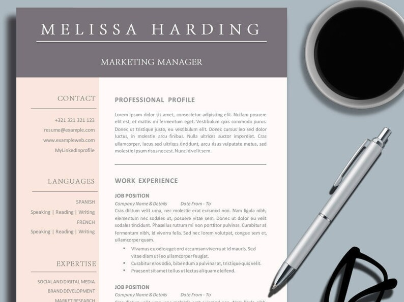 Creative Business Professional Resume Template for MS Word Etsy