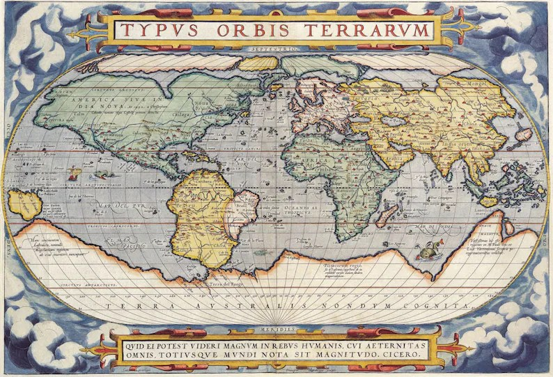Digital Vintage Maps Antique Maps of the World 1570 Etsy