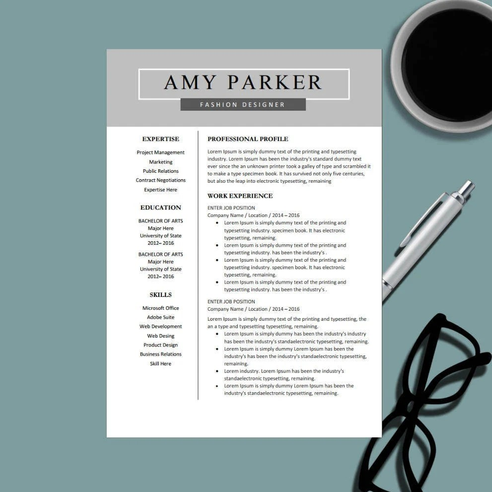 Creative Professional Resume Template for MS Word Modern Etsy