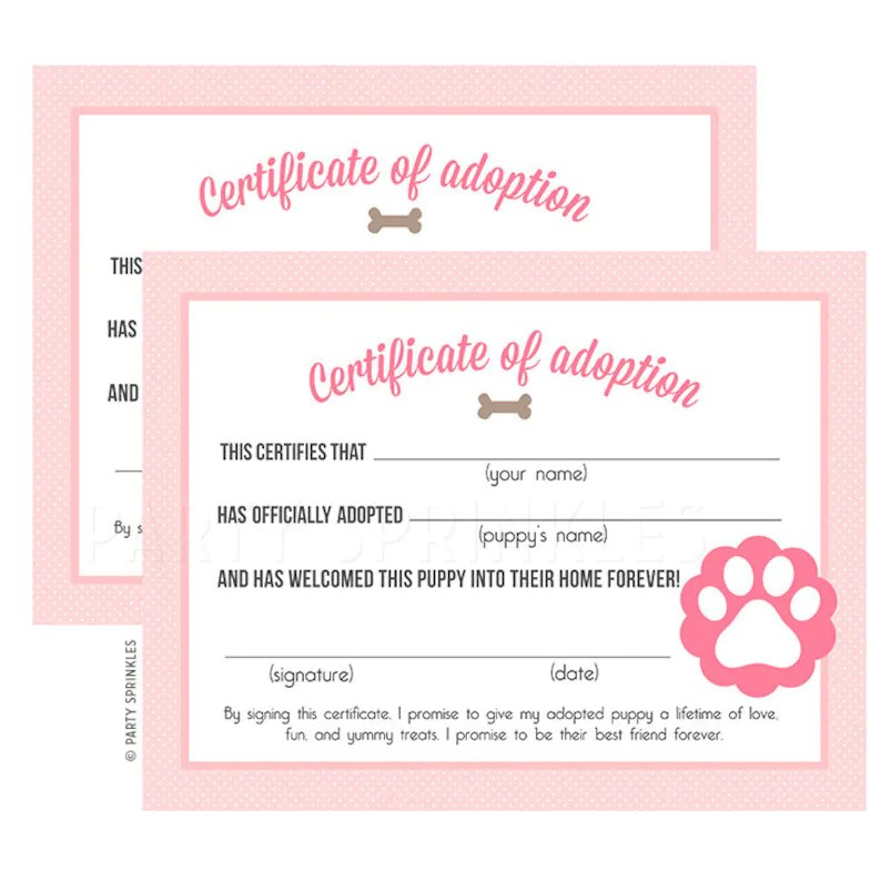 Pink Puppy Birthday Party Adoption Certificates DIY Etsy