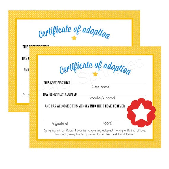 Yellow  Red Circus Carnival Monkey Pet Adoption Certificates