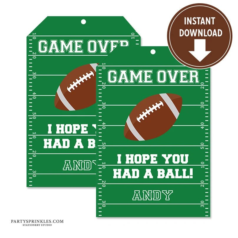 Football Sports Thank you note tags for Favor boxes  bags