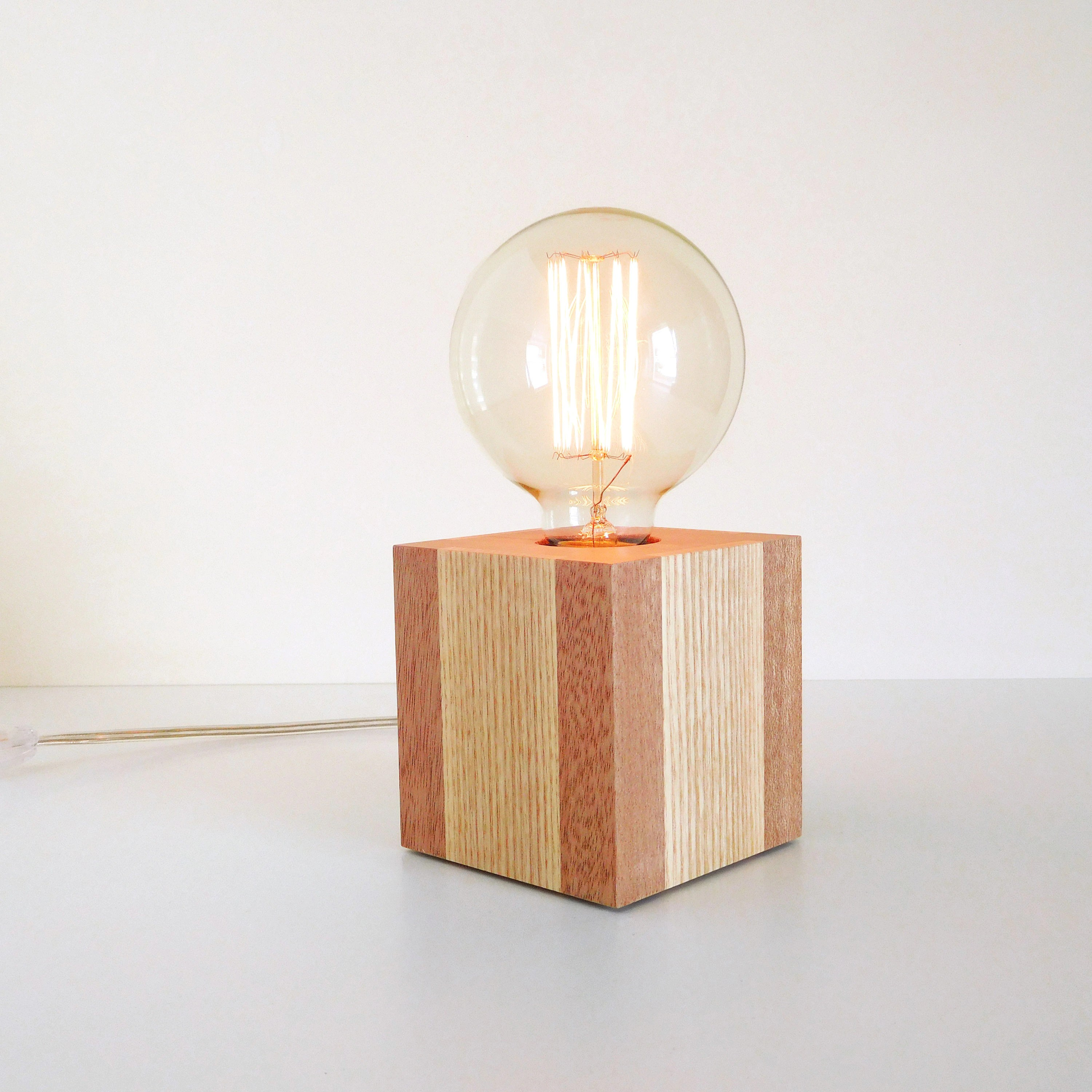 Table Lamp Base Wood Table Lamp Base Small Cube Edison Bulb Lamp Dimmable Modern Lighting Decorative Living Room Lamps Mens Home Decor Birthday Gift Ideas
