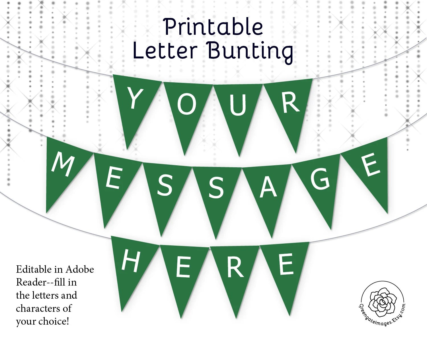 Green Letter Banner bunting download editable banner party Etsy