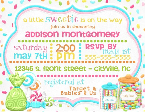 Candy Themed Baby Shower Digital Invitations / Little Sweetie Etsy