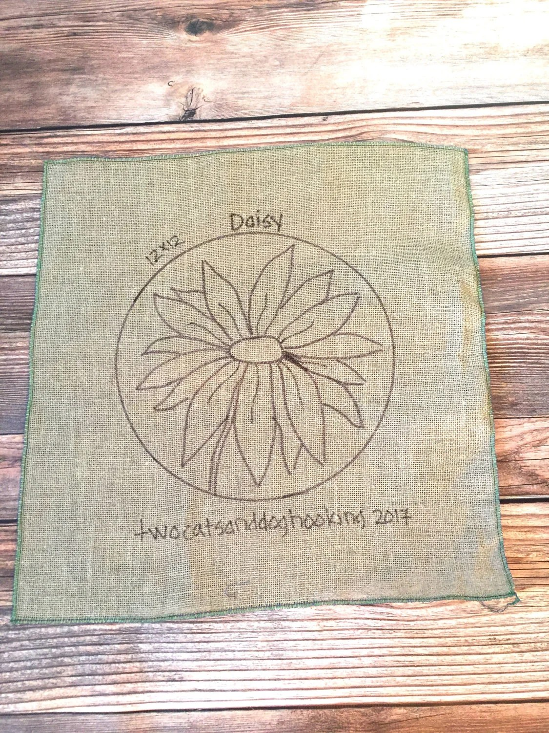 Hooked Rug Chair Pad Daisy Flower Pattern Etsy