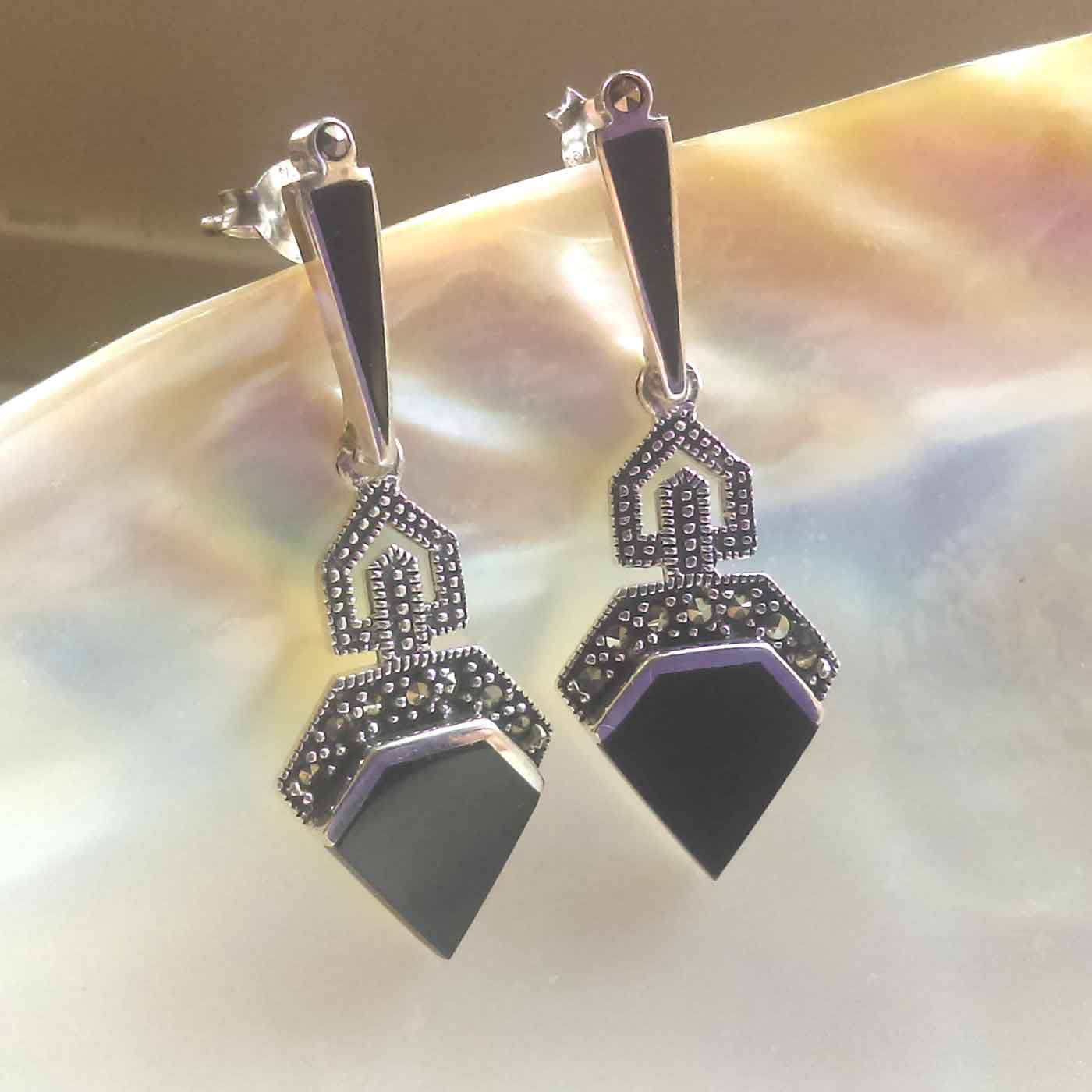 Art Deco Style Earrings Uk Sterling Silver Art Deco Marcasite Earrings Black Onyx Earrings Vintage Style Earrings Uk Seller Marcasite Jewellery Marcasite Jewelry
