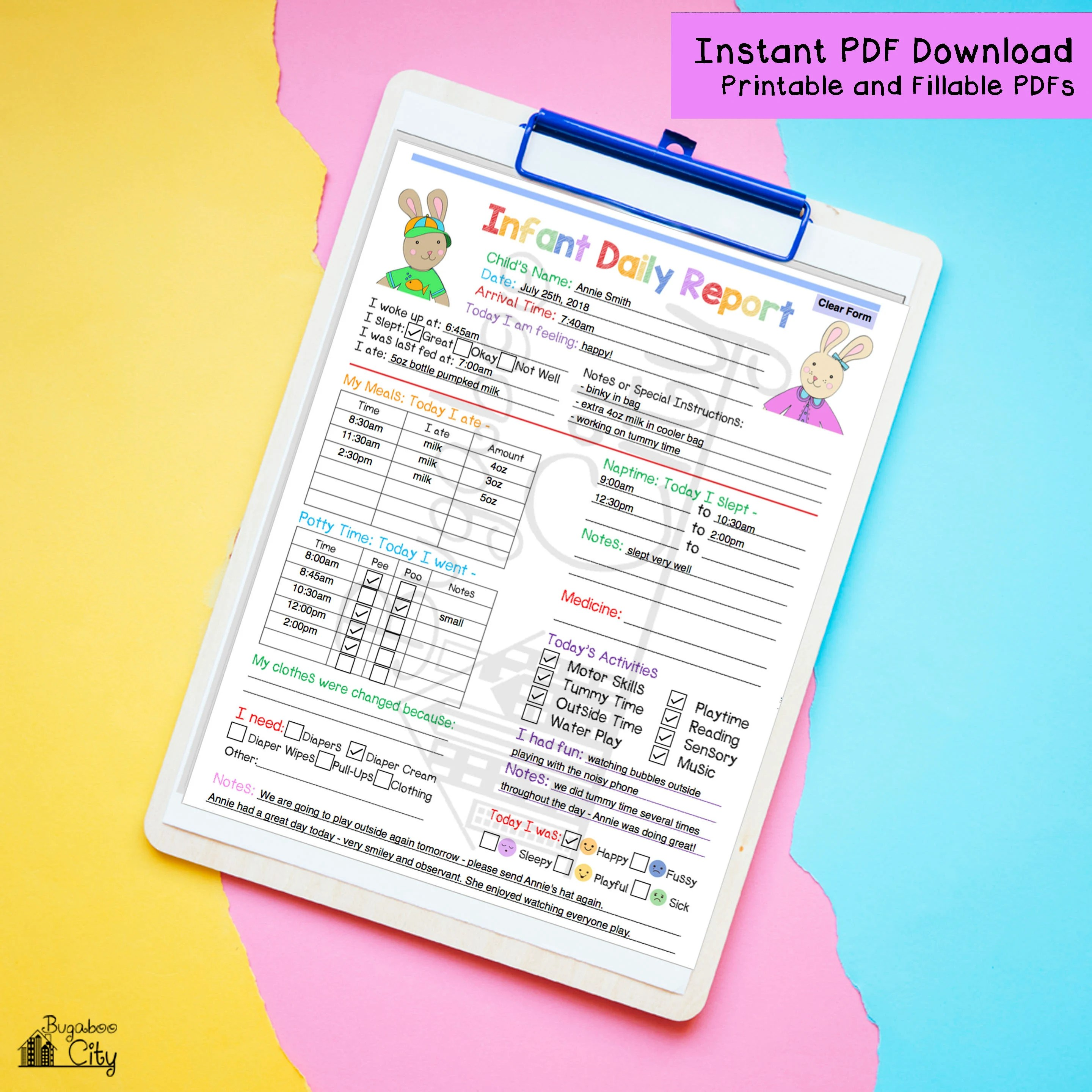 Daily Infant Report In-Home Preschool Daycare Nanny Log Etsy