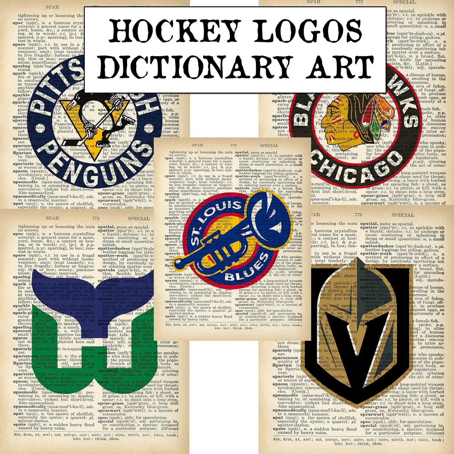 Hockey Logos Vintage Nhl Current Hockey Logos Old Dictionary Pages Pittsburgh Penguins Hartford Whalers Golden Knights St Louis Blues Chicago Blackhawks