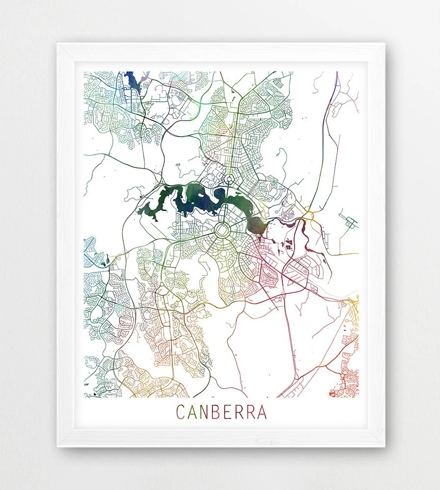 Map Of Canberra Canberra City Urban Map Poster Canberra Street Print Watercolor Map Canberra Australia Modern Wall Art Home Decor Travel Printable Art